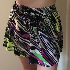 Fabletics Drawstring Waist Multicolor Neon Skirt